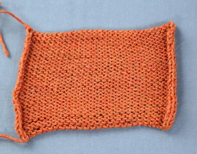 Orange Swatch of Stockinette Stitch