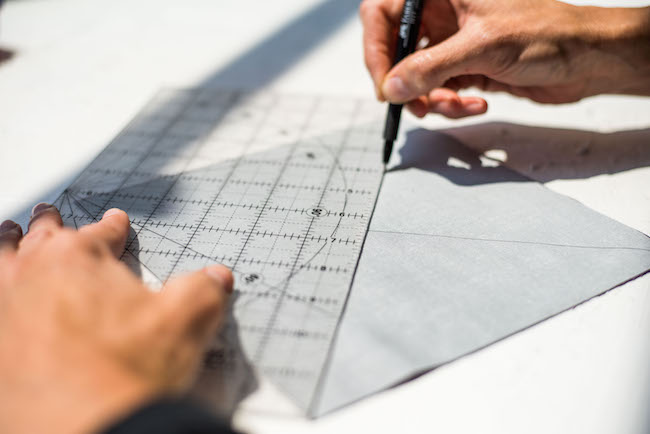 Drawing Diagonal Line on Fabric Square