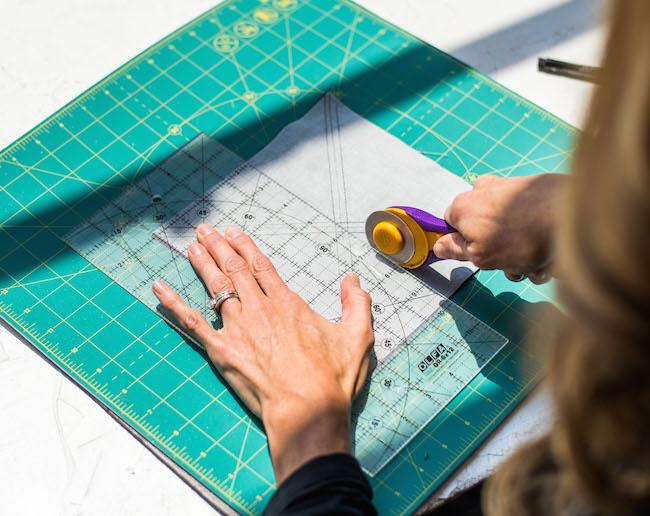 Cutting Fabric Square in Half Vertically