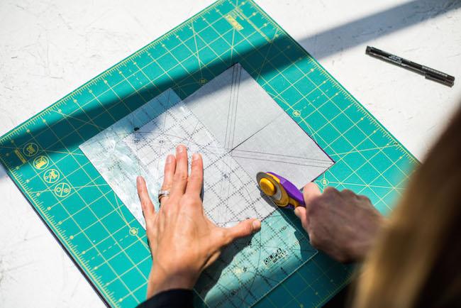 Cutting fabric square horizontally