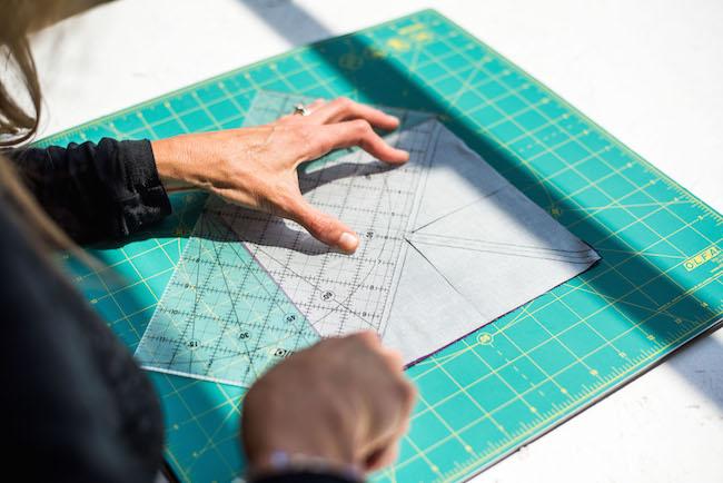 cutting fabric square diagonally