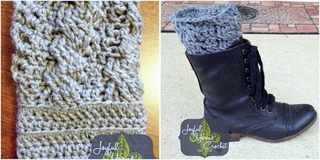 Cabled crochet boot cuff pattern