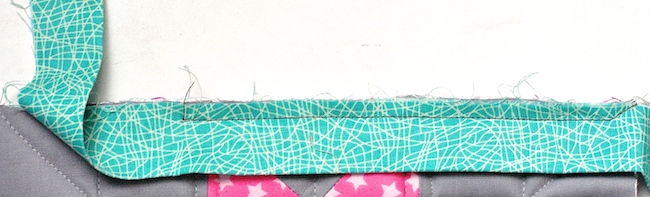 Sewing off the corner of a quilt binding