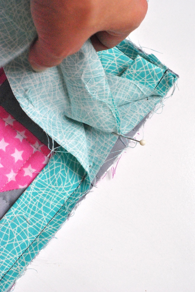 Pinning two ends of fabric