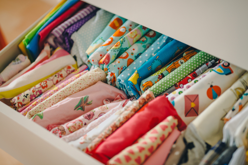 Quilting Fabric ORganized in Drawer