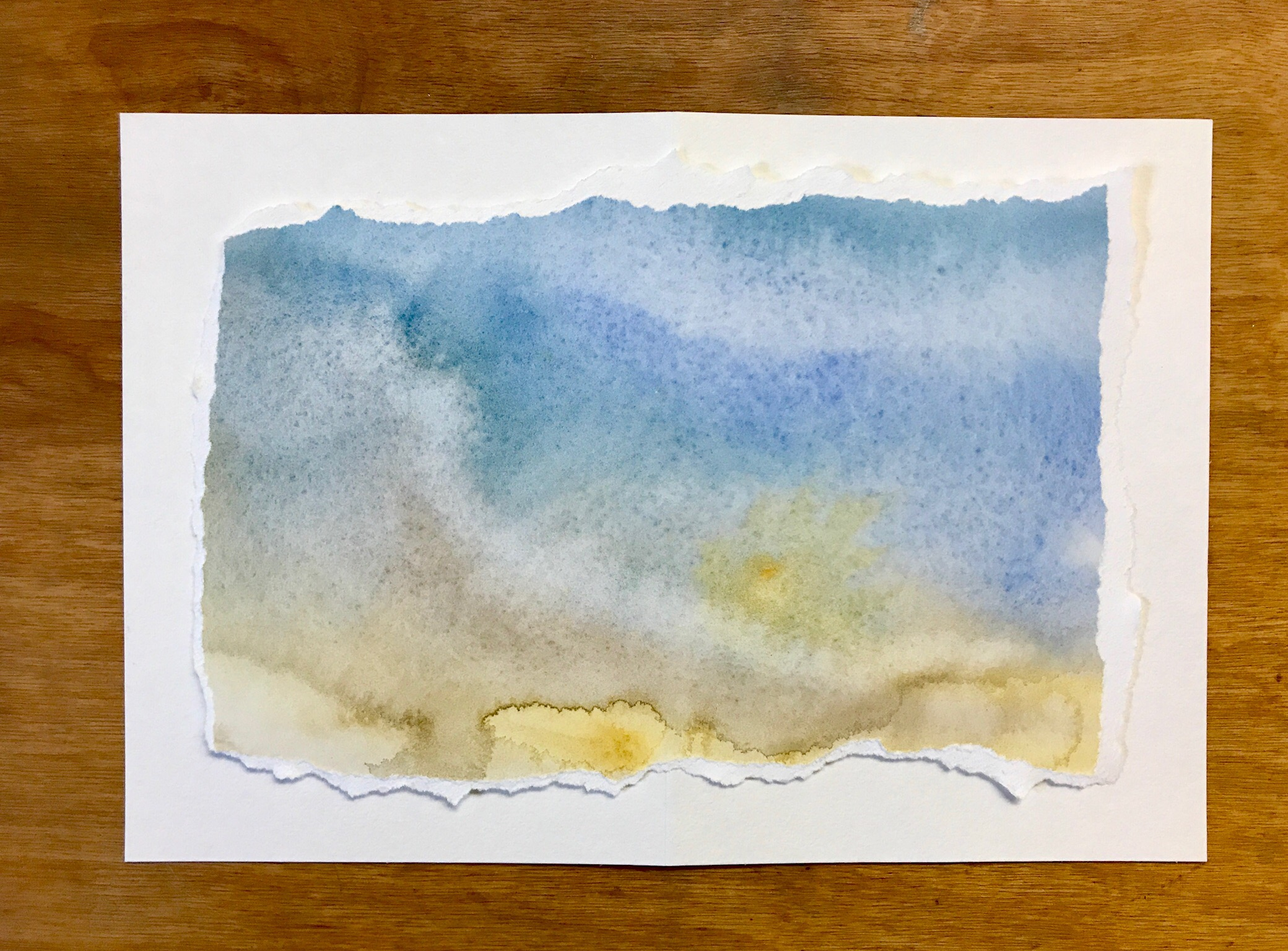 Blue and yellow watercolor