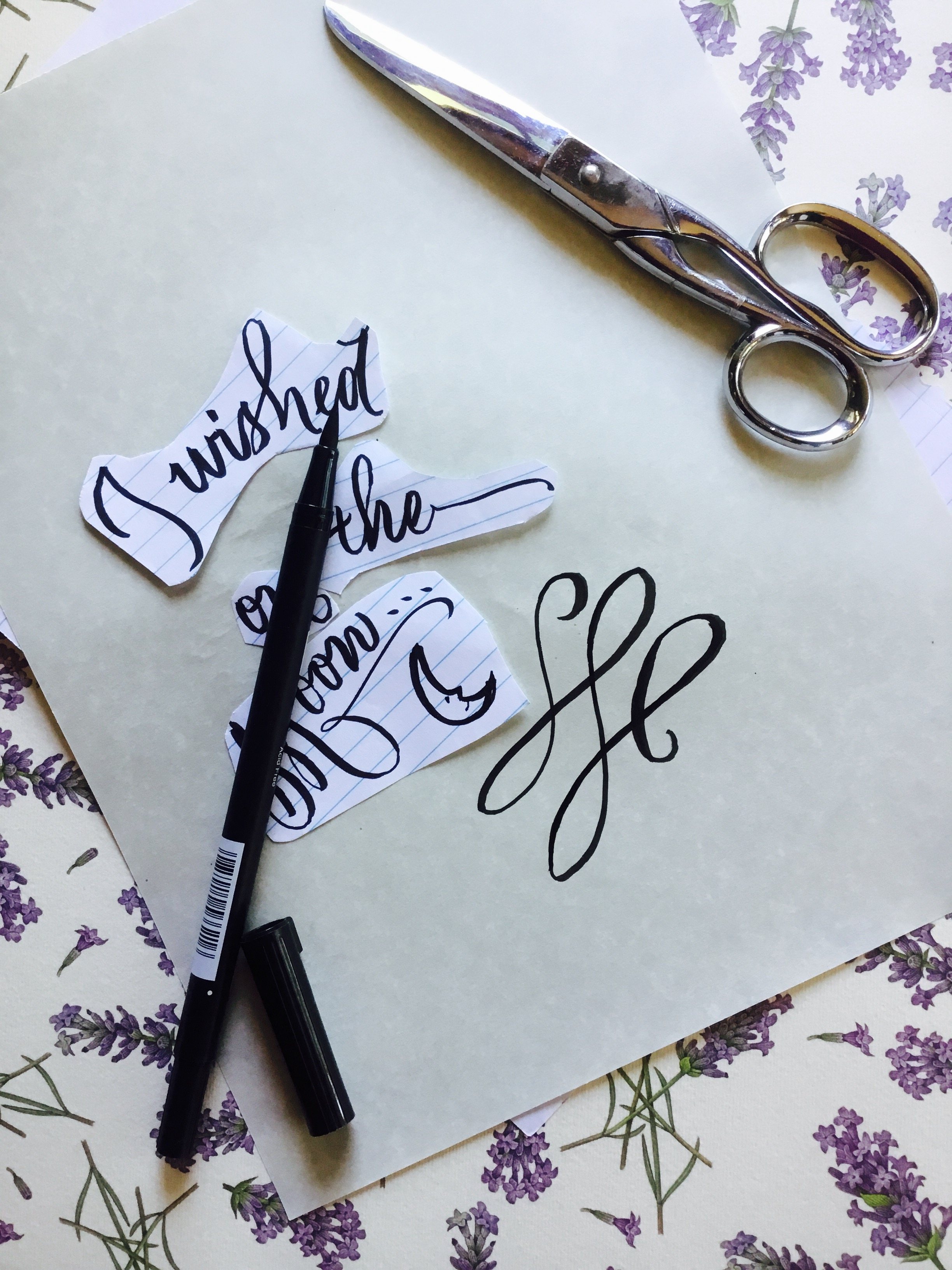 cut up calligraphy words and flourish