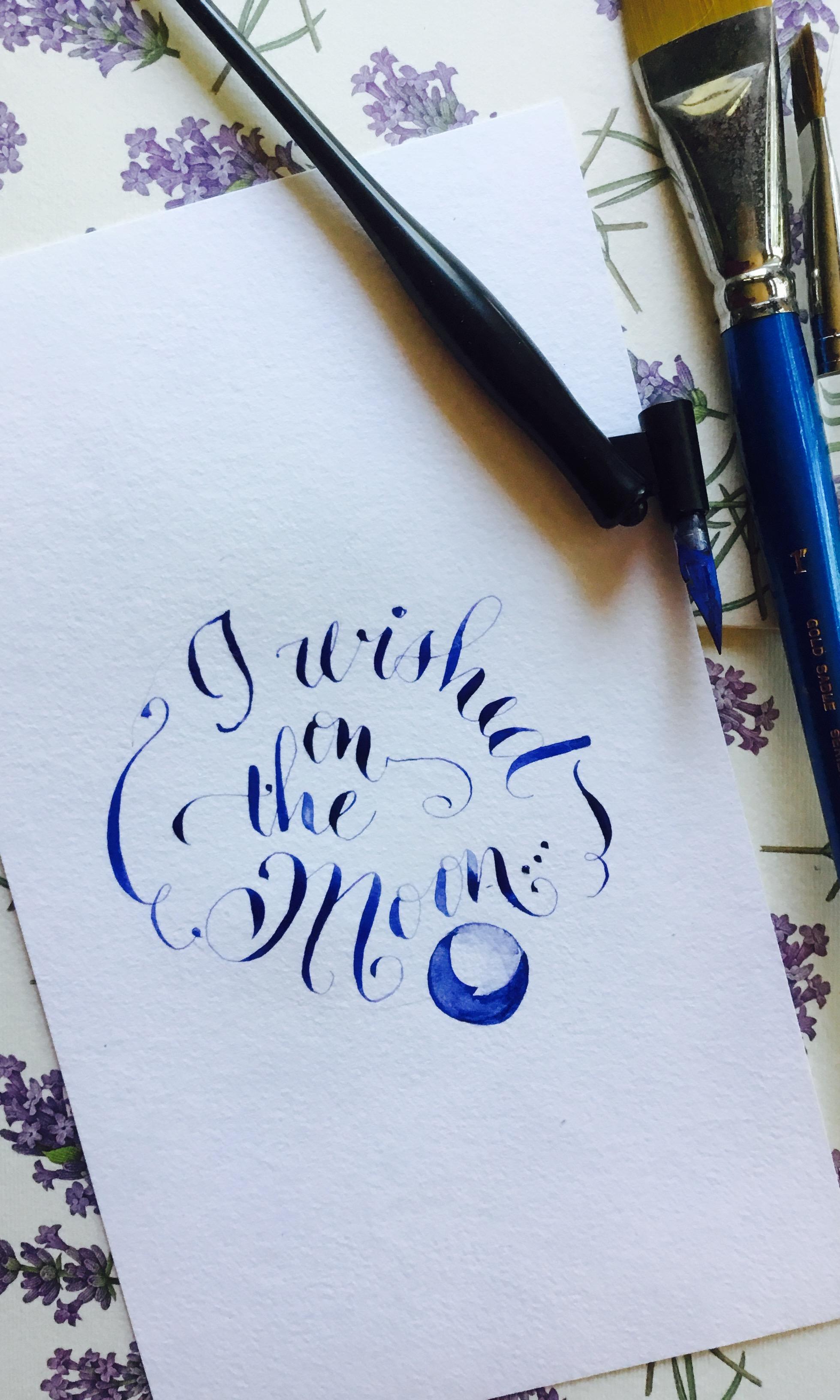 I wished on the moon calligraphy