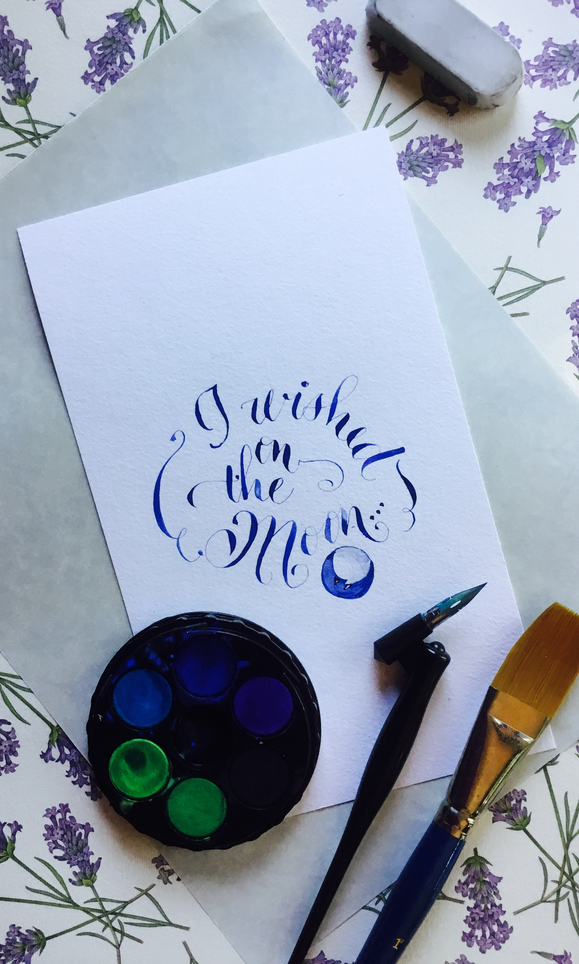 Calligraphy I wished on the Moon