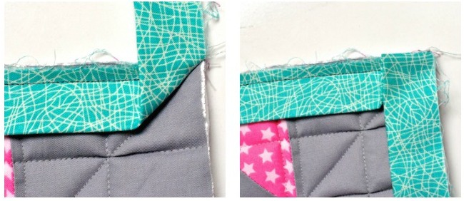 Folding the corner of a quilt binding