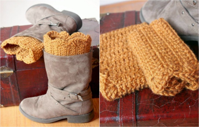 Scalloped crochet boot cuff pattern