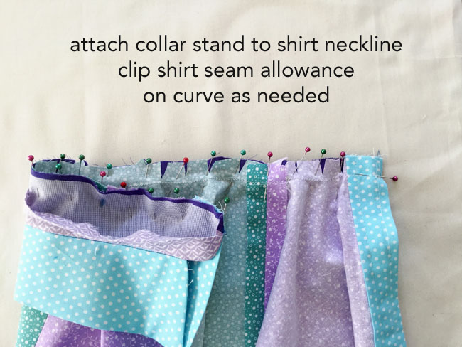 attach collar stand to shirt collar 1