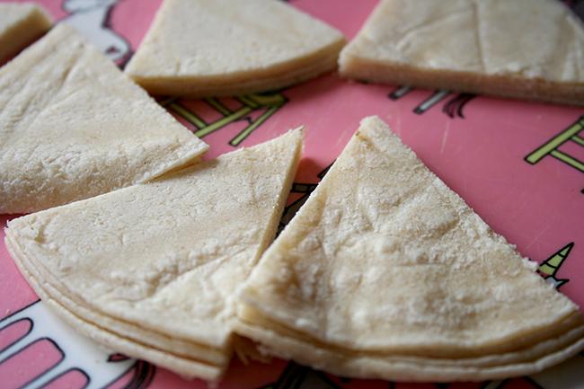 Tortillas cut for chips