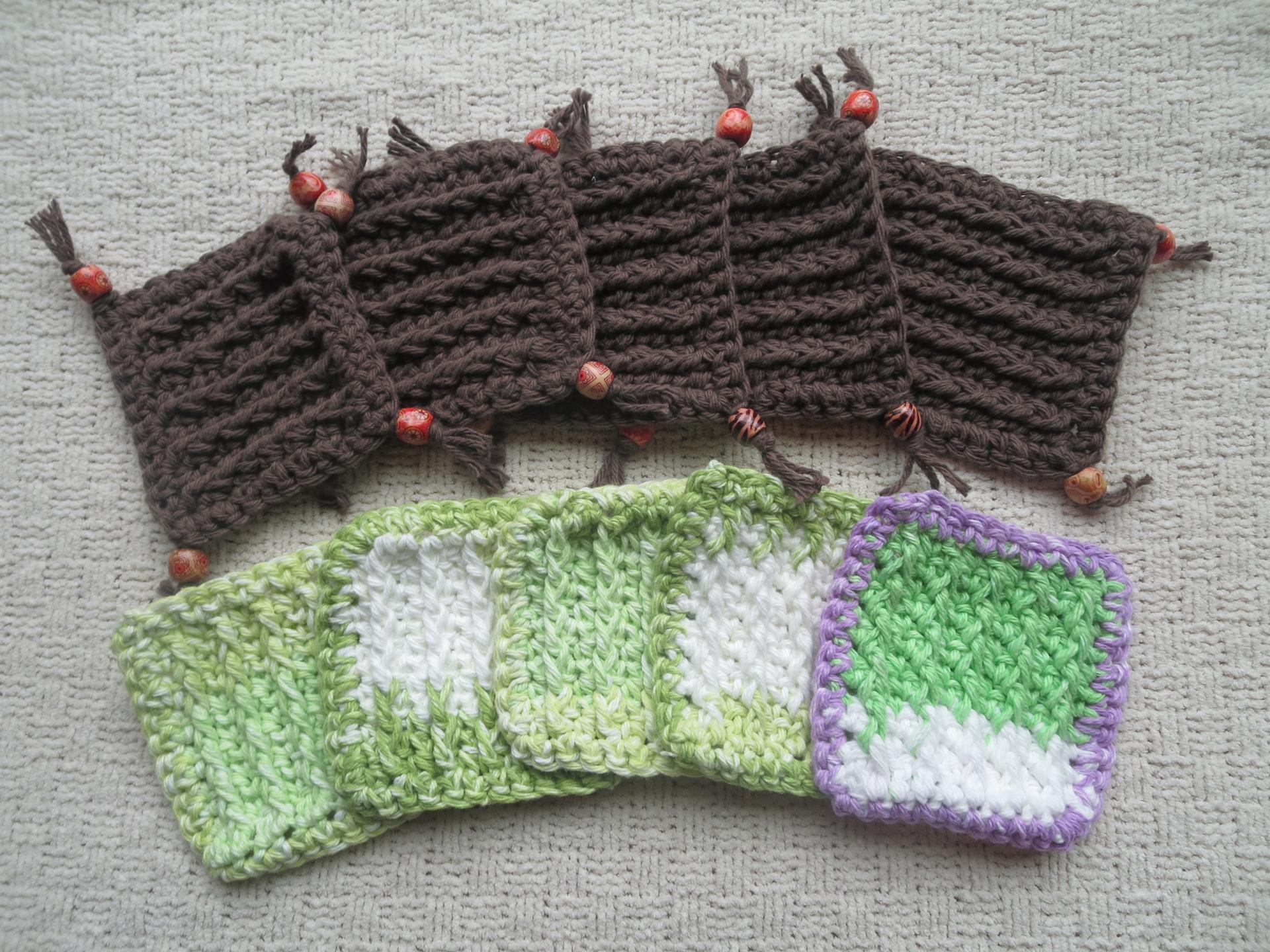 bead fringe crochet coasters