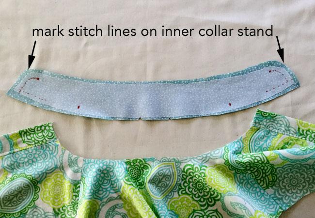 mark stitch lines on inner collar stand collar 2