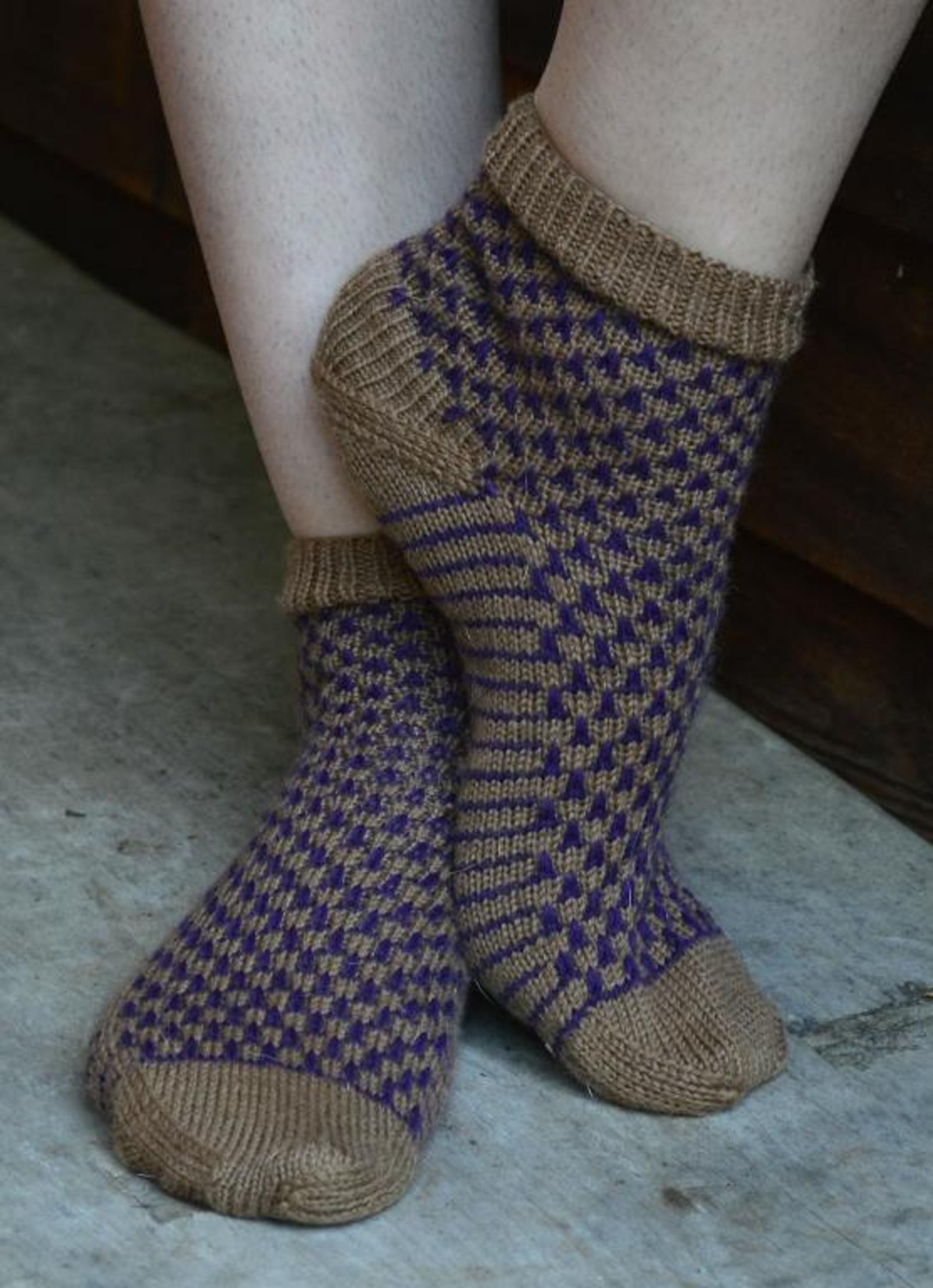Purple Cork Sock Knitting Pattern