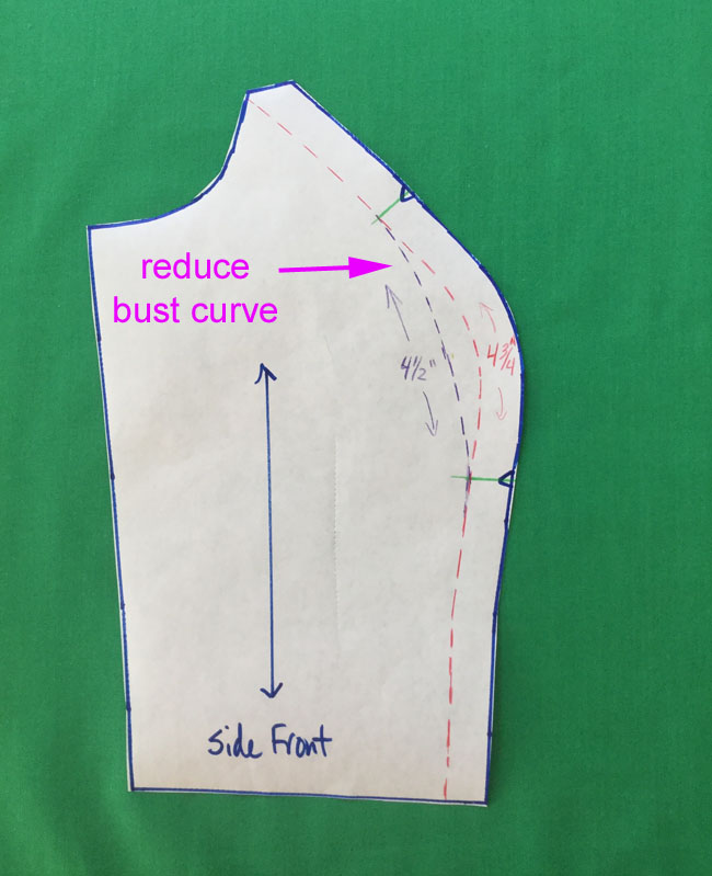 reduce the side front pattern piece between notches