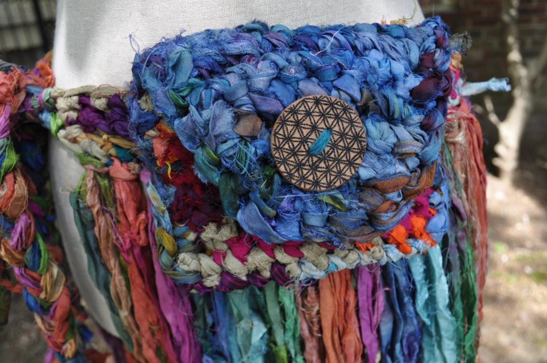 sari silk fringe skirt crochet pattern