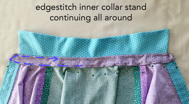 stitch collar stand to neckline edge with text collar1