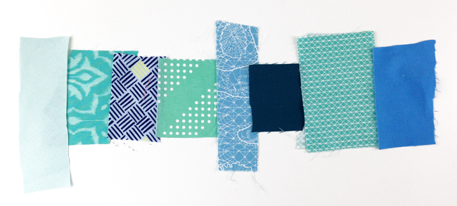 Testing out blue scraps for a quilt binding.