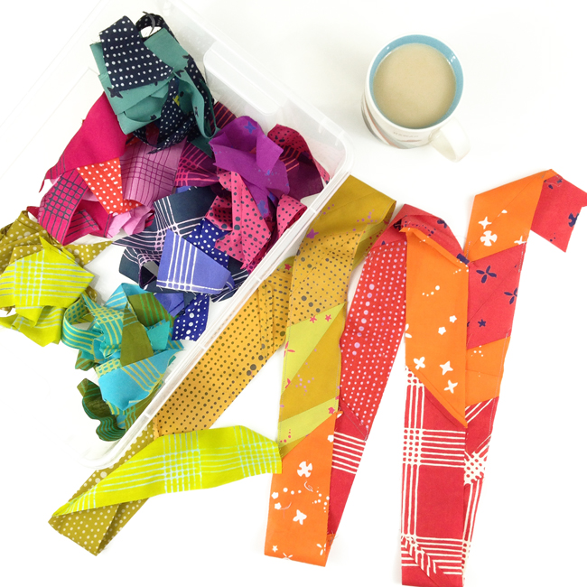 Making scrappy binding with Chroma by Alison Glass