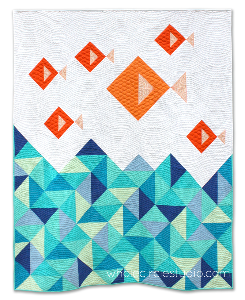 Little Fishies quilt. Pattern by Whole Circle Studio