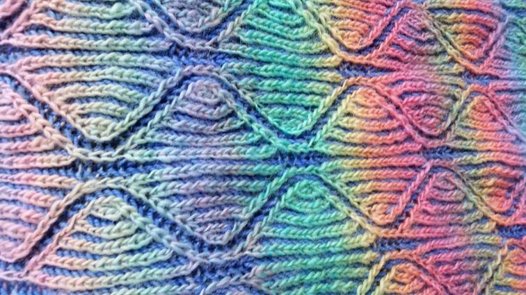 Rainbow Shawl in Brioche