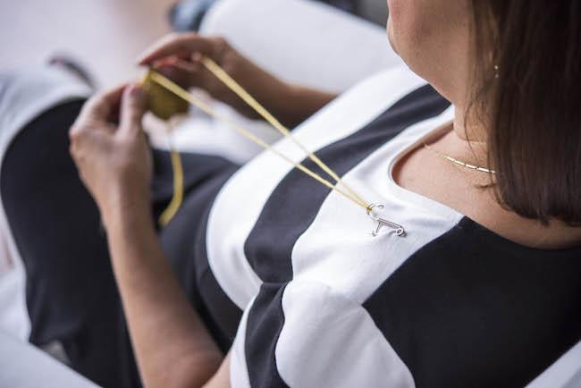 Yarn through a pin