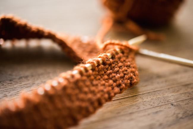 Purling Orange Yarn