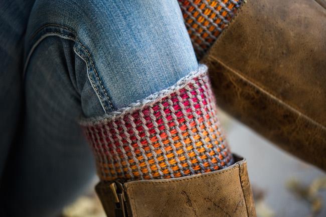 Colorful Tunisian Crochet Boot Cuffs