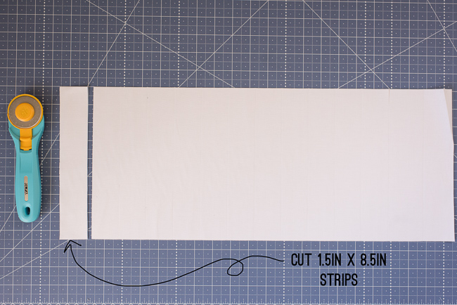 Cutting White Fabric into Strips