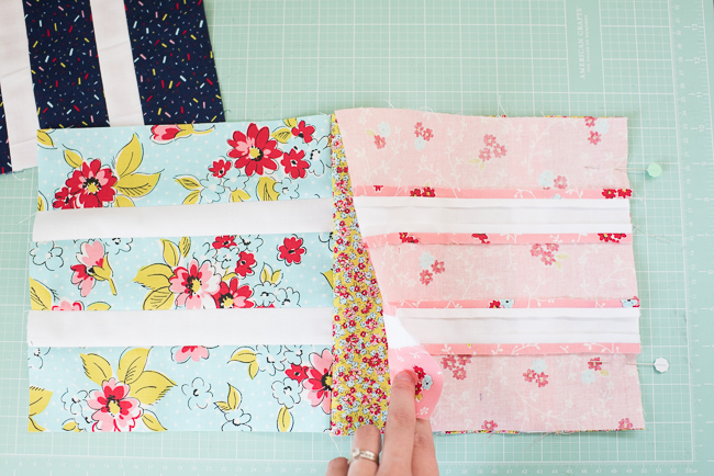 sewing quilt blocks together