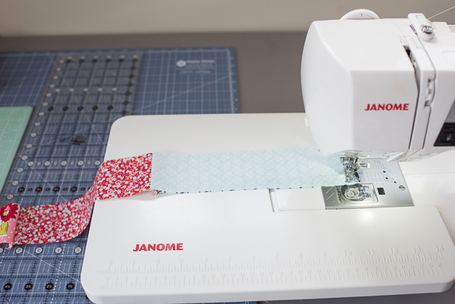 sewing fabric strips