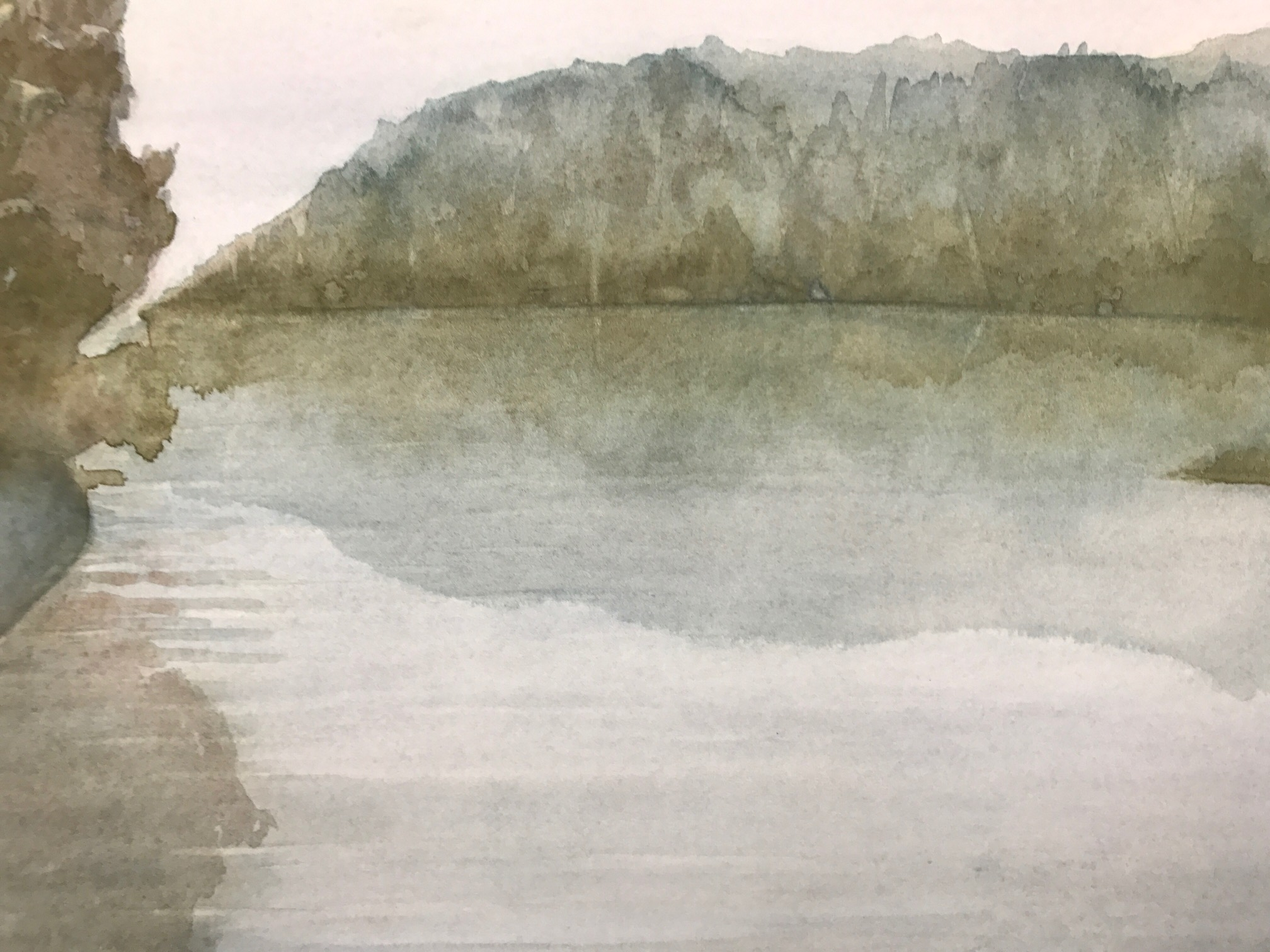 Landscape Painting with Pale Pink Sky
