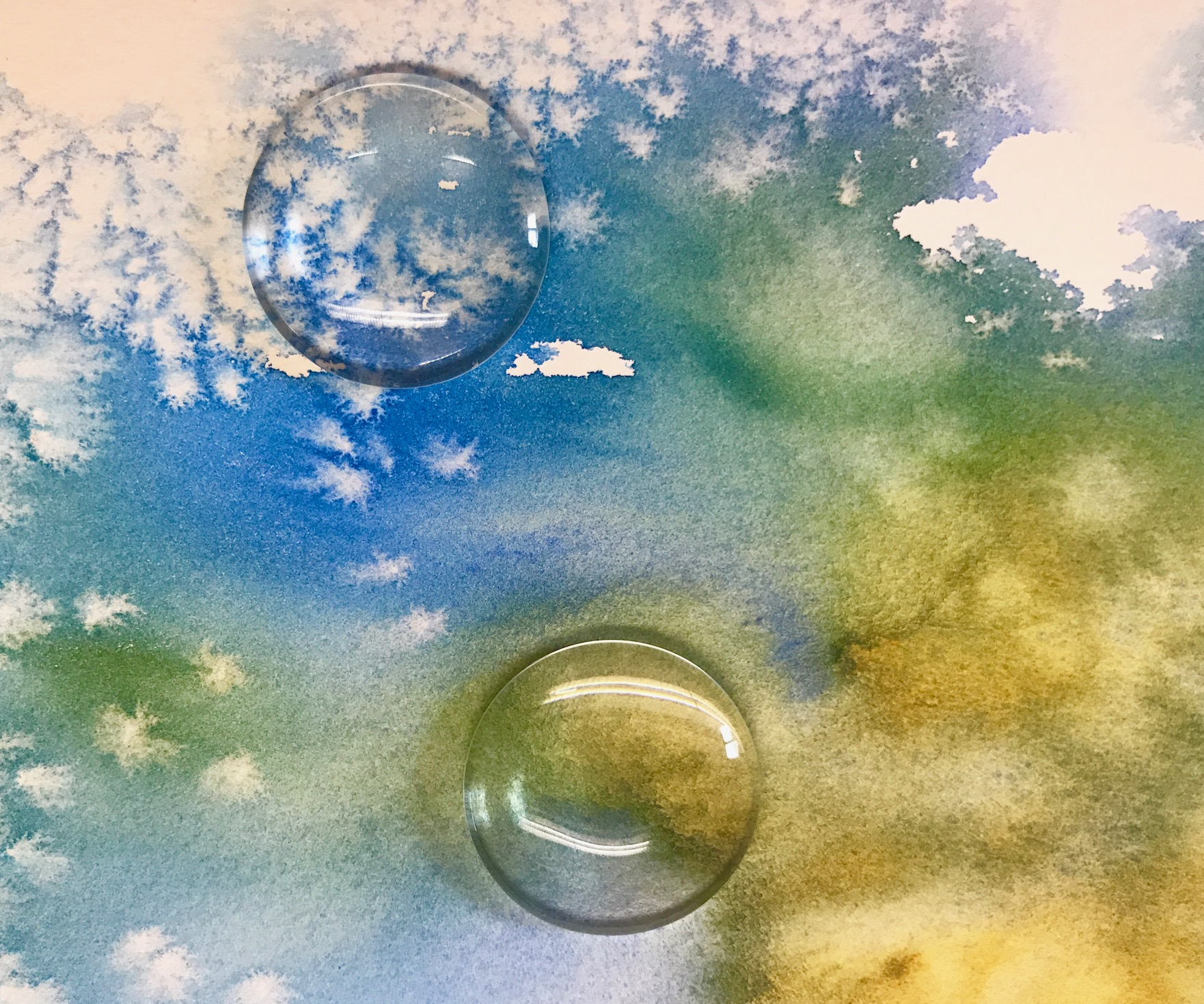 Glass Domes on Watercolor