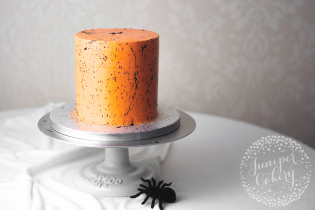 Black and Orange Splatter Cake for Halloween