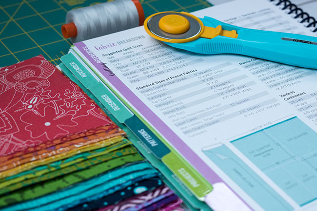 Fat Quarter pre-cuts next to a handy list of common pre-cut sizes, from The Quilter's Planner
