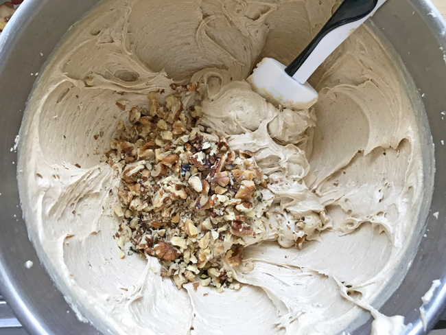 add wlanuts to apple cake batter