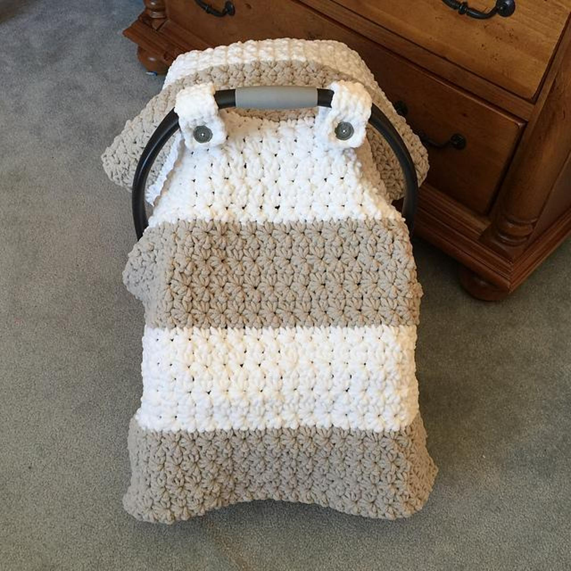 chunky star stitch car seat crochet pattern