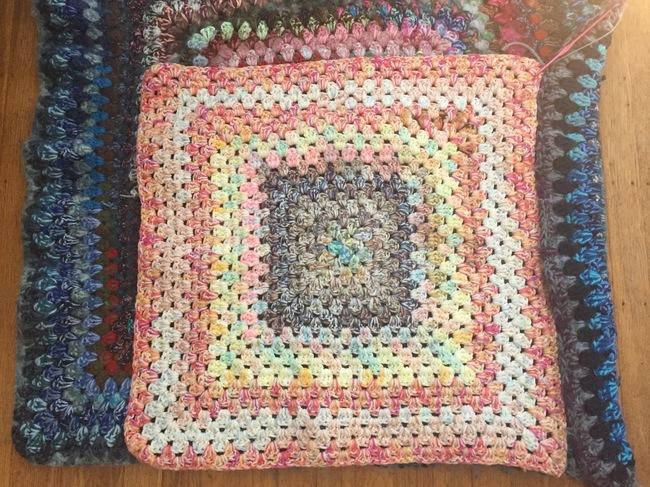crochet granny square pouf