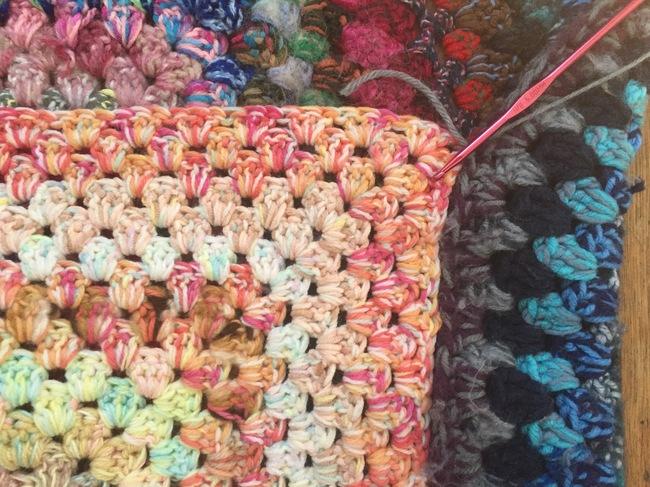 crochet granny square pouf 2