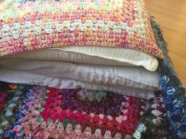 crochet pouf stuffed with pillows