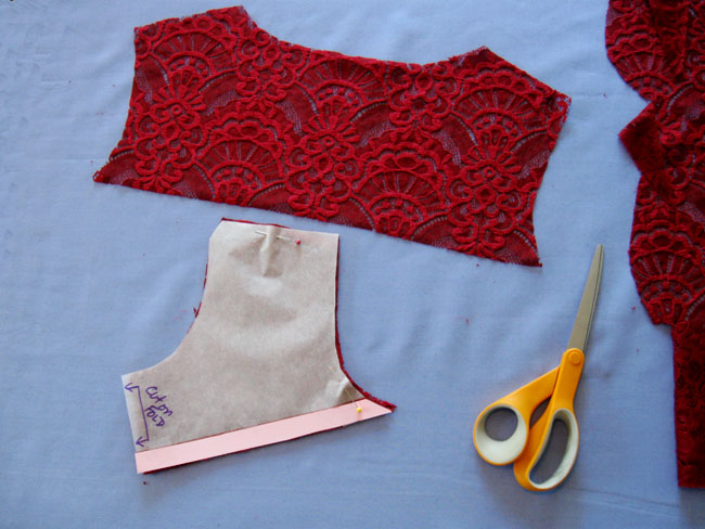 cut lace top portions