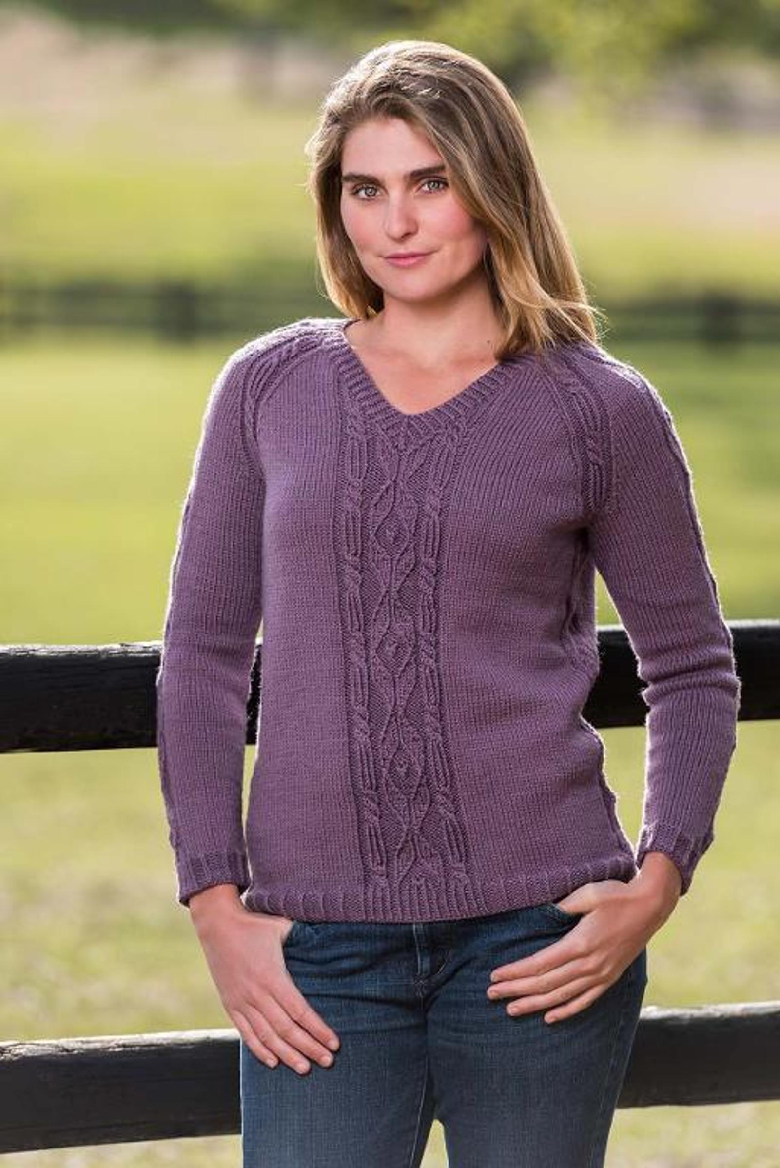 Top Down Cable and Diamond Pullover