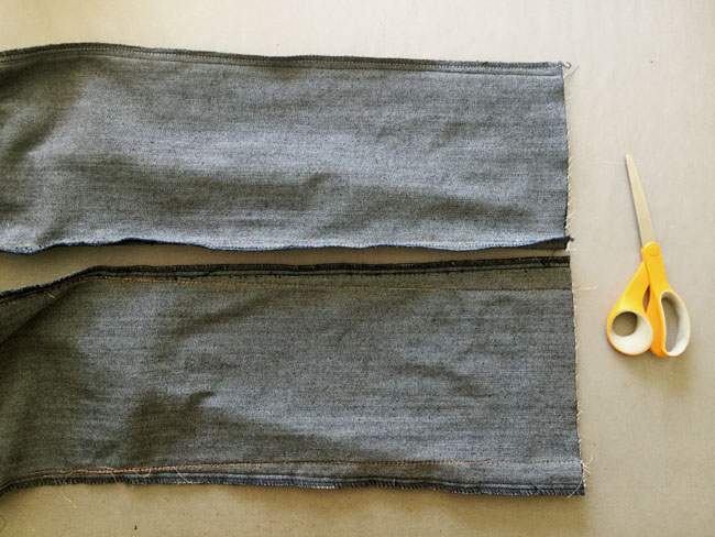 trim or serge off extra width of seam allowance