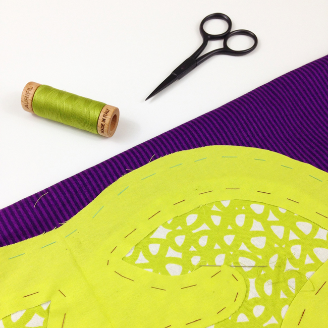 Think Big! mini quilt in progress by Sheri Cifaldi-Morrill | Whole Circle Studio. Applique quilt pattern.