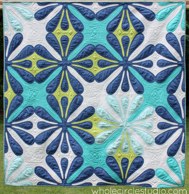 Big Island Blossoms quilt by Sheri Cifaldi-Morrill | Whole Circle Studio. Modern Hawaiian Inspired quilt.