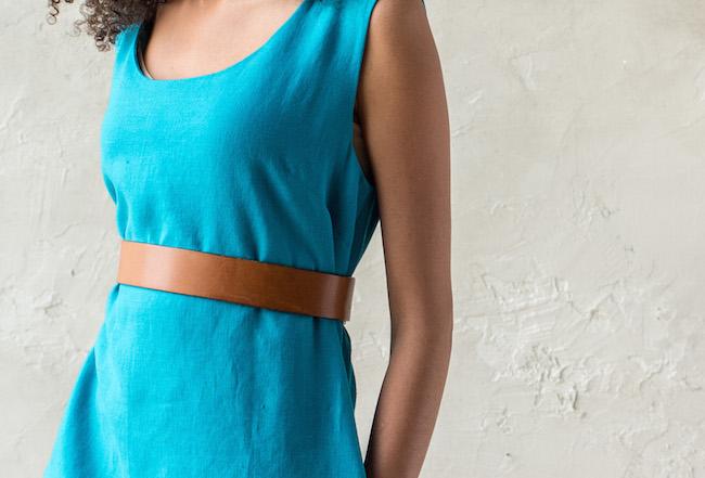 Blue Dress Worn With Brown Belt