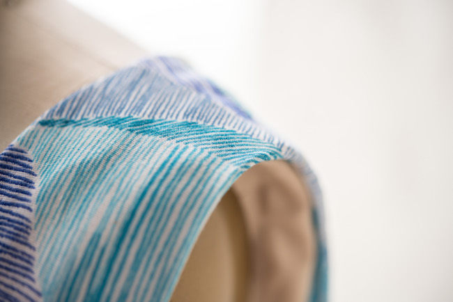 Shoulder seam on blue dress