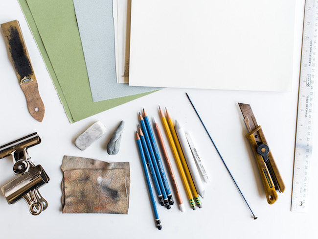Drawing Supplies on White Table